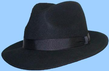 Black Fedoras with a snap brim.