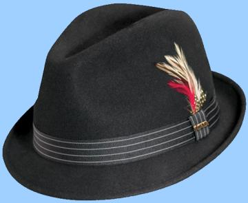 Stingy brim black fedora with contrasting grosgrain band. This hat is also  called a trilby e17a29095be